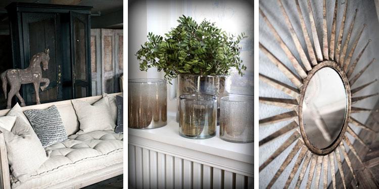 swedish treasures sofa vases starburst mirror