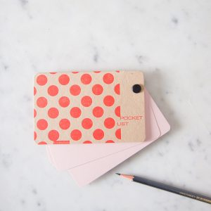 Pocket list notebook polka dot tangerine