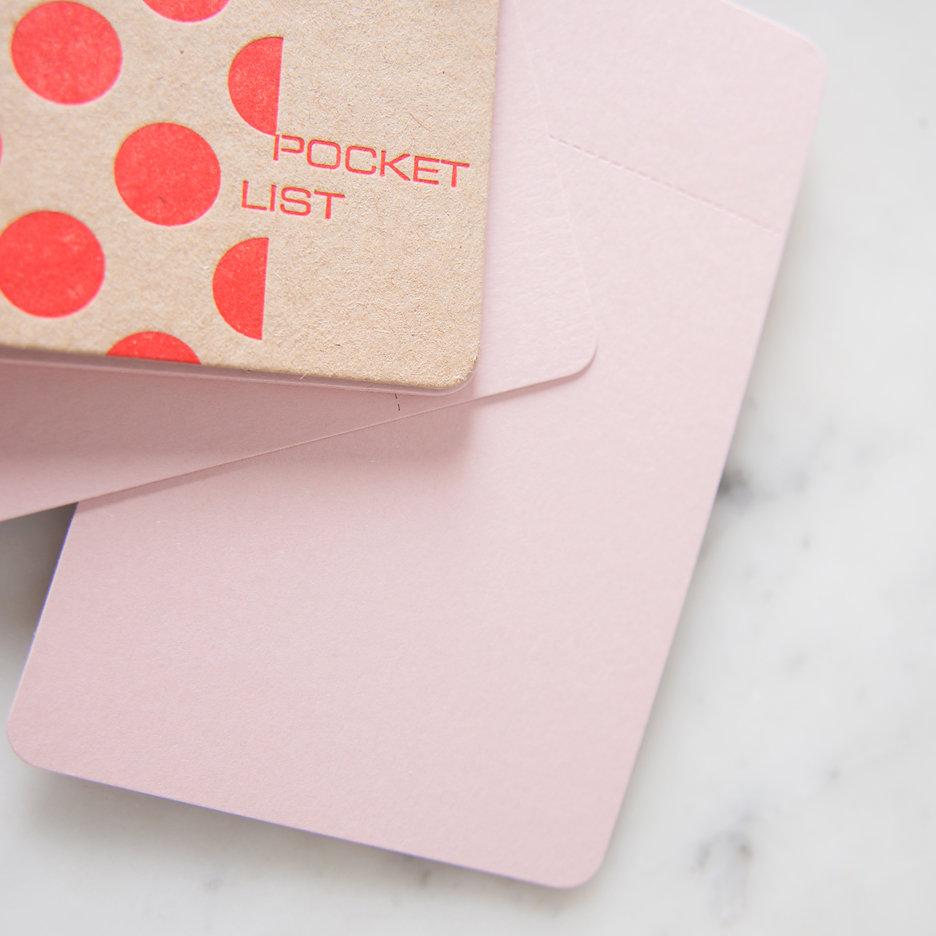 Pocket list notebook polka dot tangerine