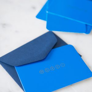 Mini Merci postcards cobalt blue