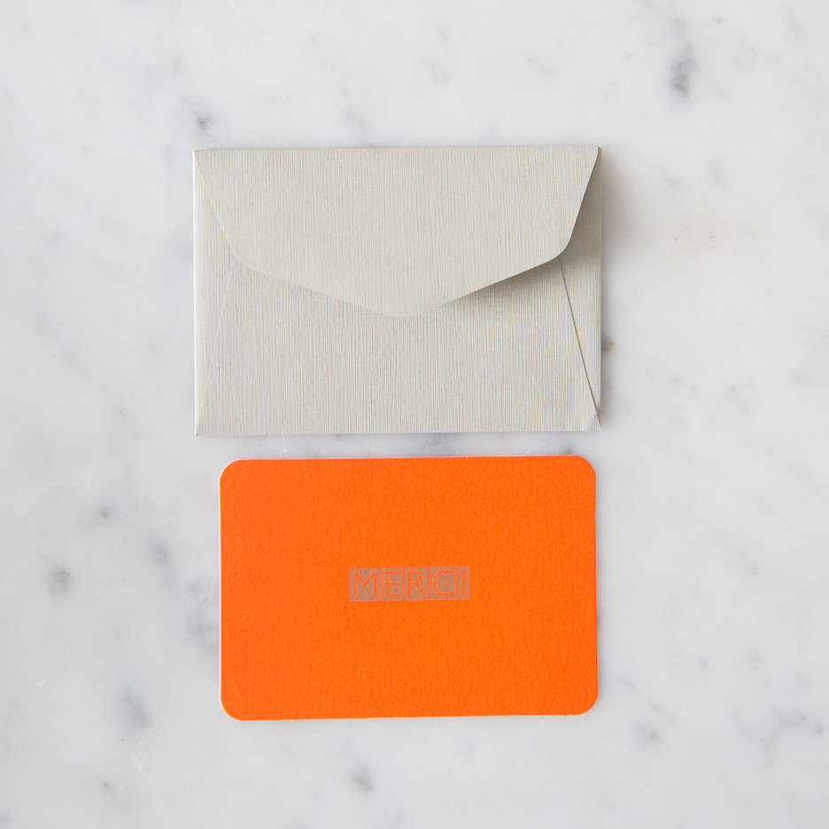 Mini Merci postcards fluorescent orange