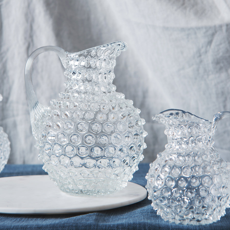 Bohemian clear glass hobnail jugs large and small