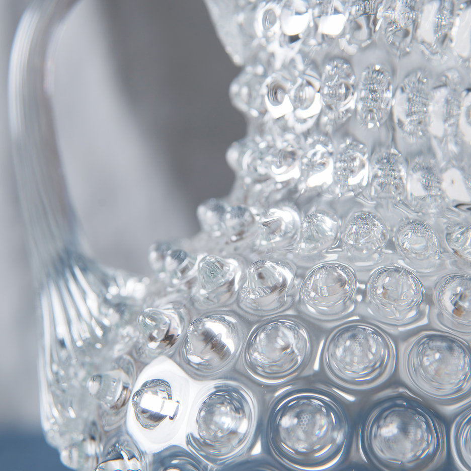 Bohemian clear glass hobnail jug large