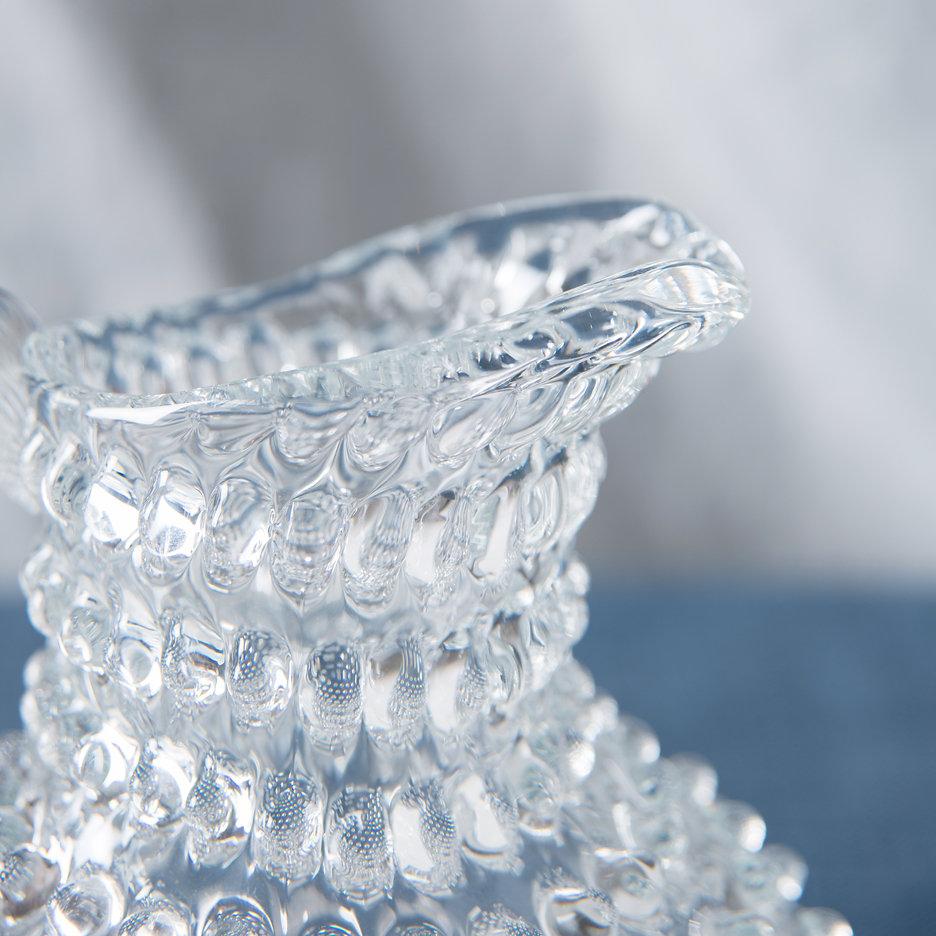 Bohemian clear glass hobnail jug large