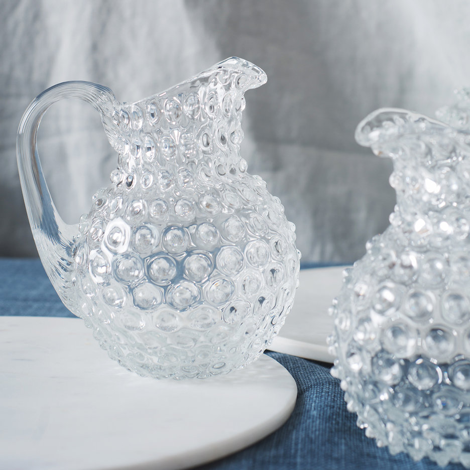 Bohemian clear glass hobnail jug small