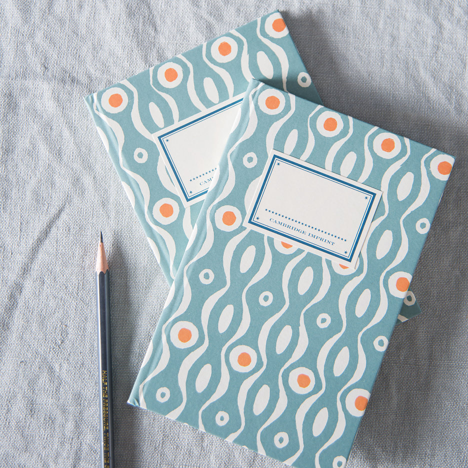 Soft teal and burnt orange patterned hard back notebook