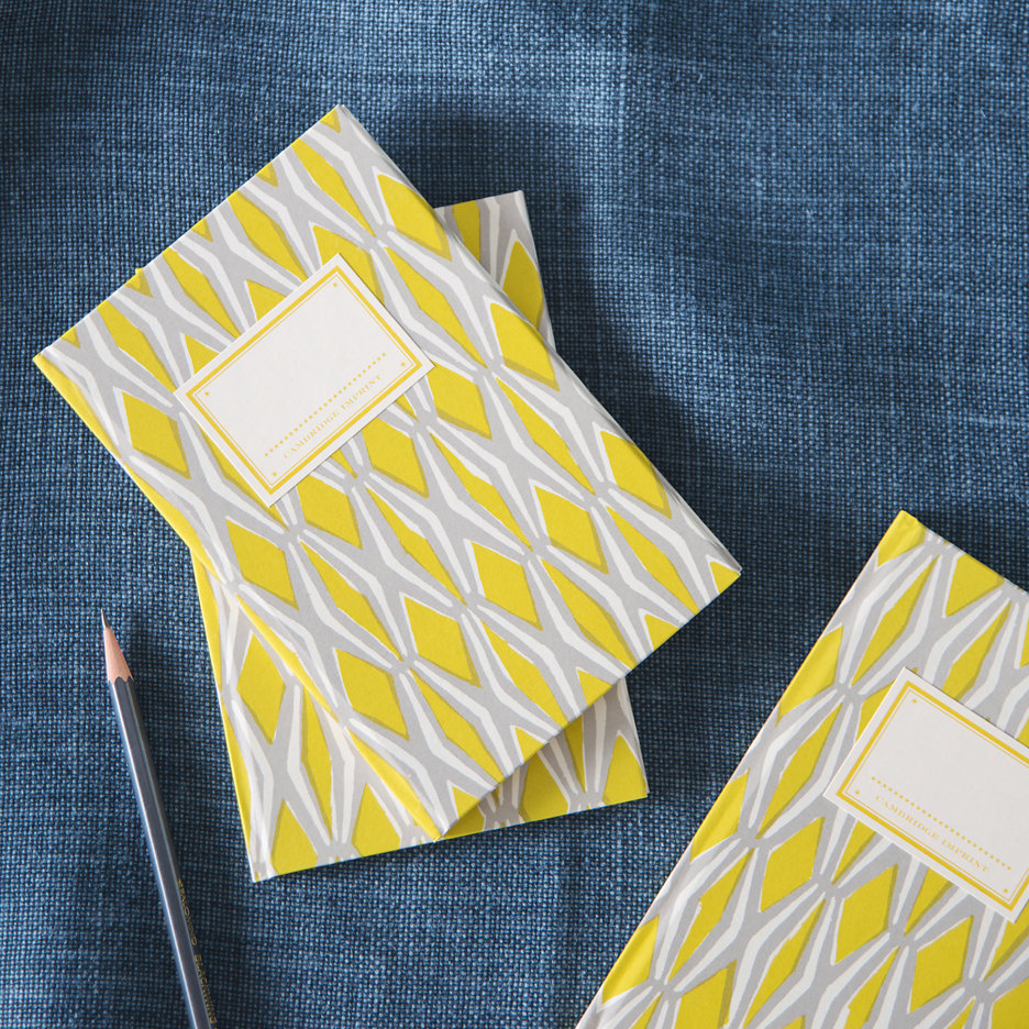 Geometric acid yellow and grey patterned hard back notebook
