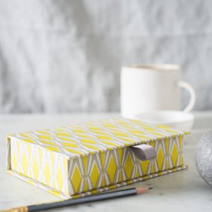 Postcard box acid yellow and grey