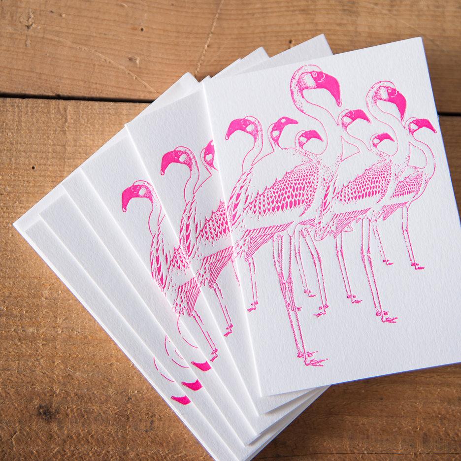 Bright pink flamingos notecards