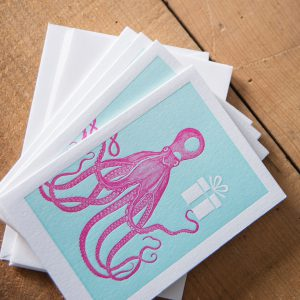 Pink Octopus notecards