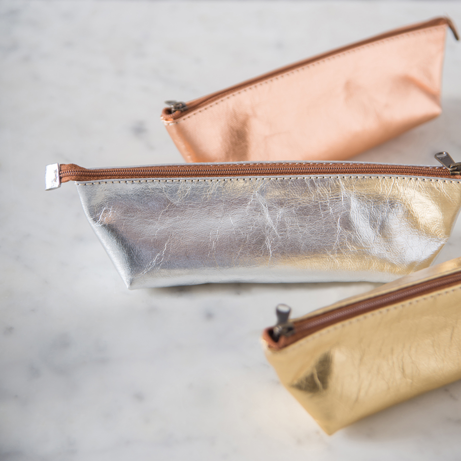 Metallic rose gold, gold, silver Uashmama makeup bag / pencil case