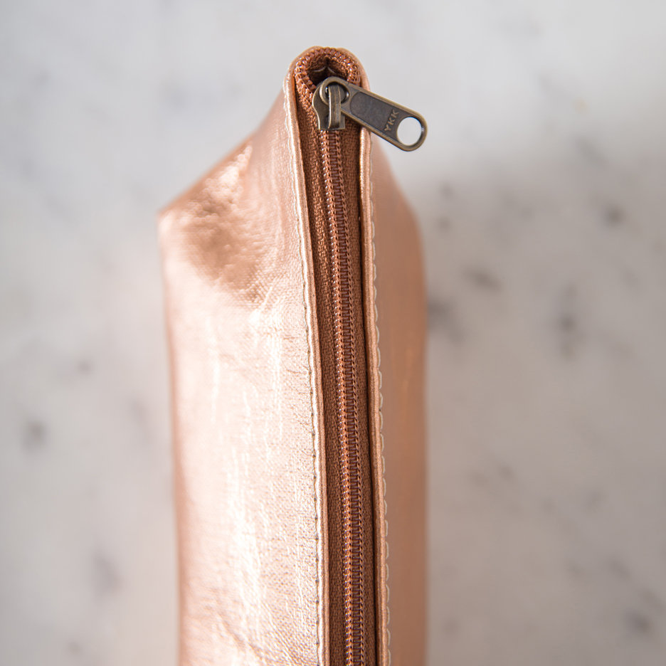 Metallic rose gold Uashmama makeup bag / pencil case