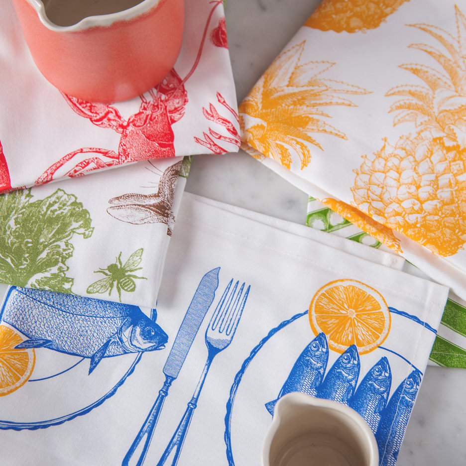 Thornback and Peel tea towels pineapple fish lobster peas rabbit