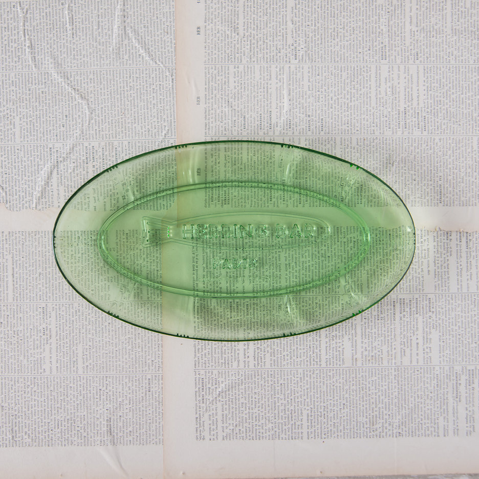 Herring bar pressed glass dish large