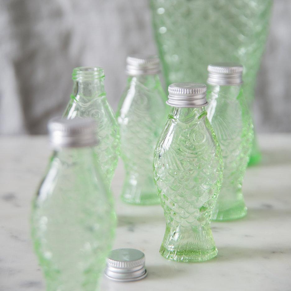 Pressed glass fish bottle mini