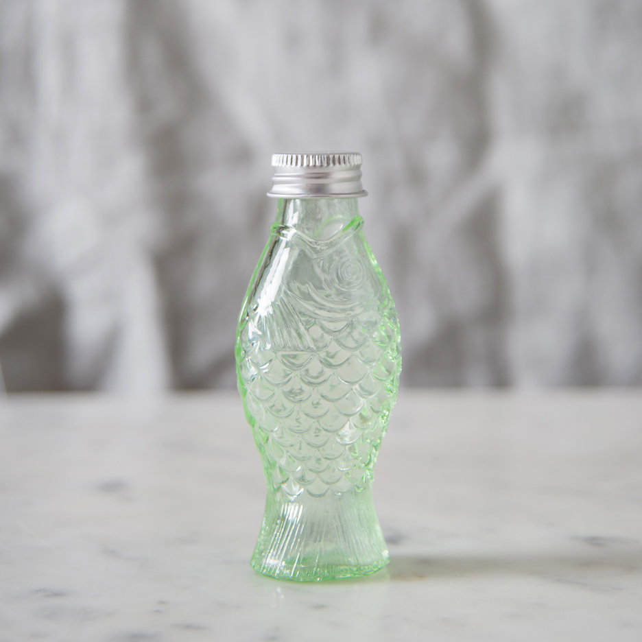 Pressed glass fish bottle mini