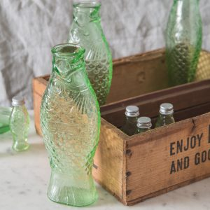 Pressed glass fish bottles