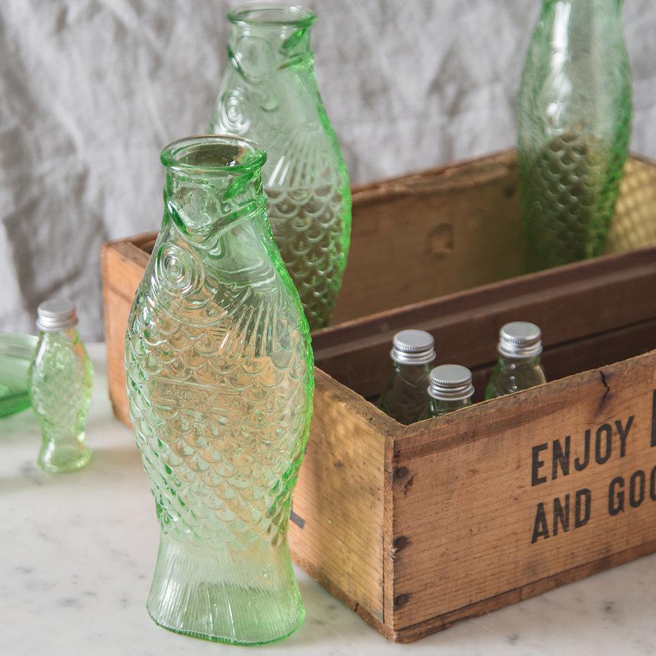 Pressed glass fish bottles