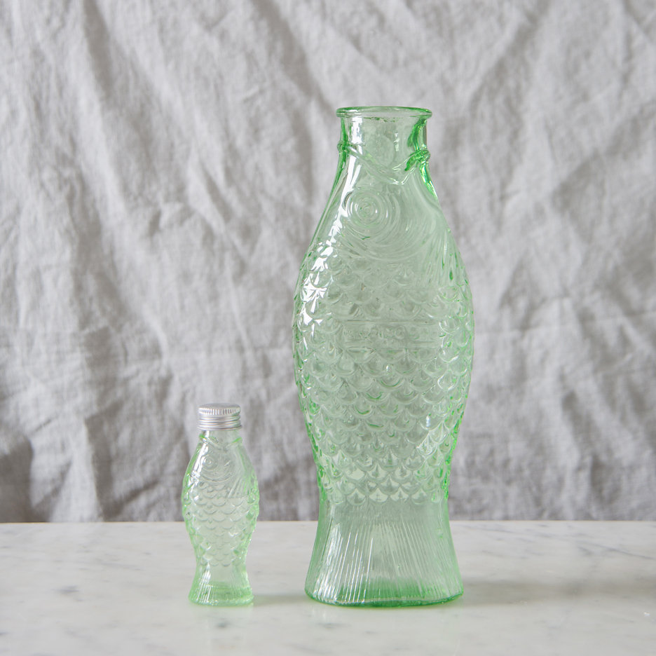 Pressed glass fish bottle large and mini