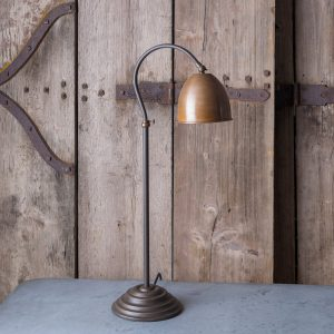 Copper shade table lamp adjustable height, cast iron with aged bronze finish
