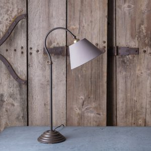 Curved table lamp adjustable height, cast iron with aged bronze finish