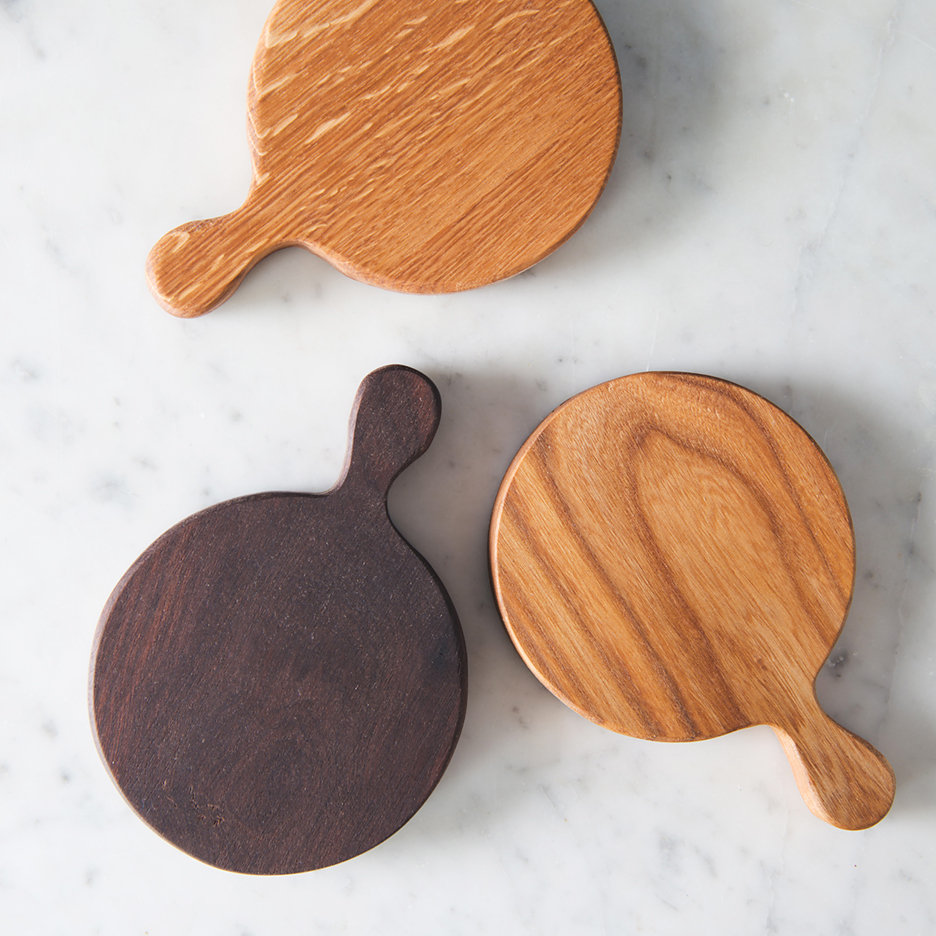 Mini round wooden chopping boards