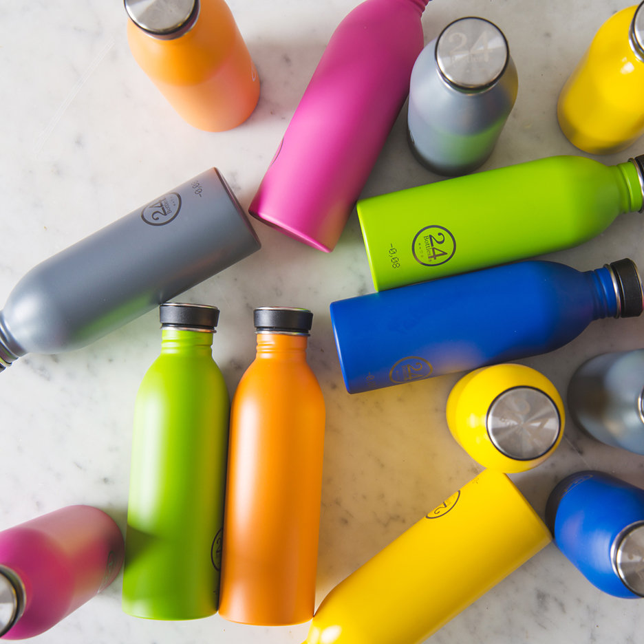 Stainless steel urban water bottles bright pink yellow cobalt blue orange lime green grey