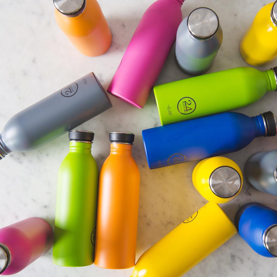 Stainless steel urban water bottles bright pink yellow cobalt blue orange lime green grey