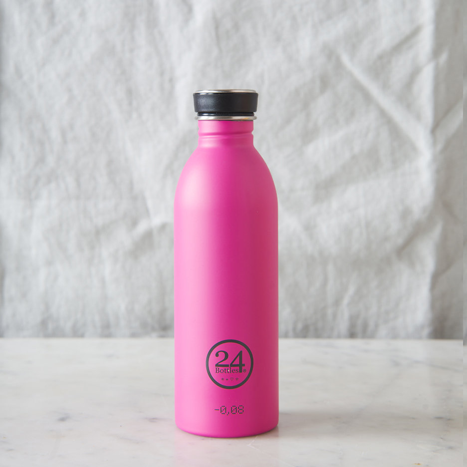 Stainless steel urban water bottle bright pink