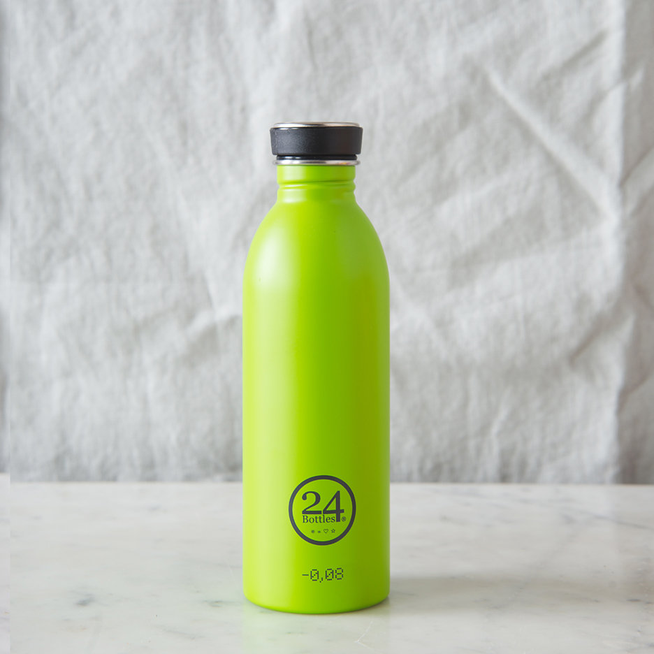 Stainless steel urban water bottle lime green