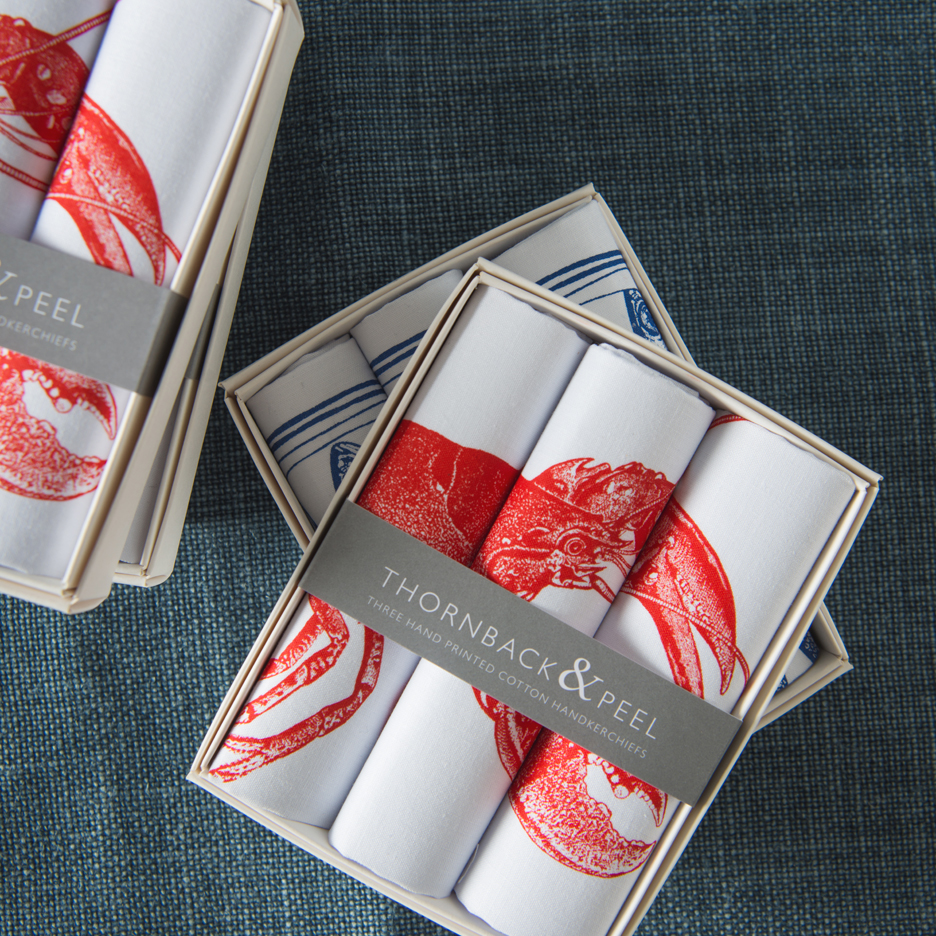Lobster handkerchiefs Thornback & Peel