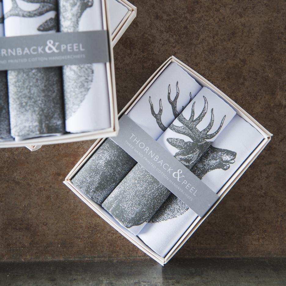 Stag handkerchiefs Thornback & Peel