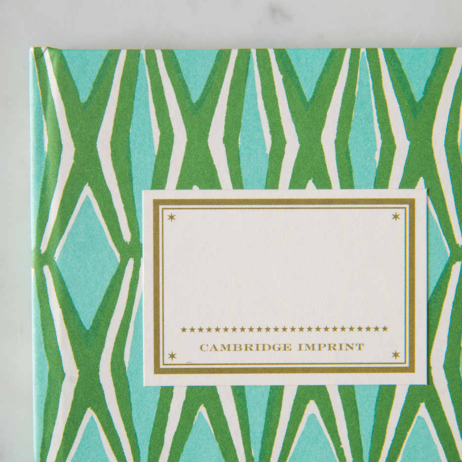 Geometric patterned hardback notebook emerald green and turquoise