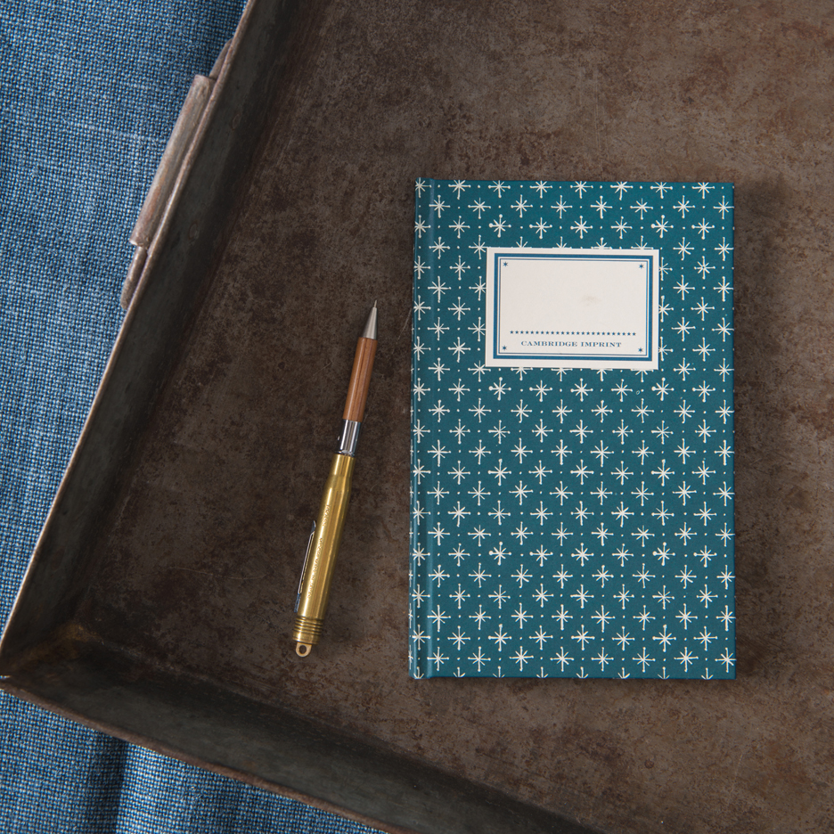 Blue little stars patterned hardback notebook