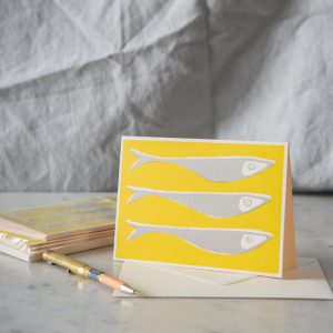 Fish notecards set of 10 acid yellow and grey