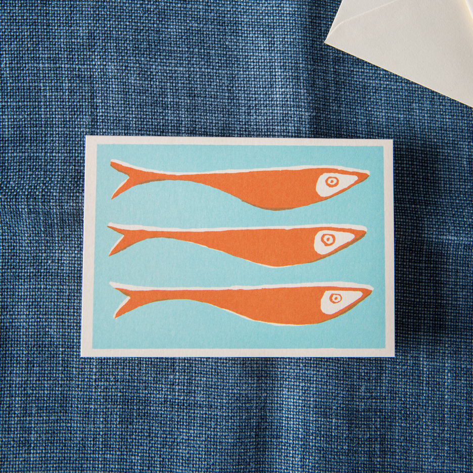 Fish notecards set of 10 turquoise and orange