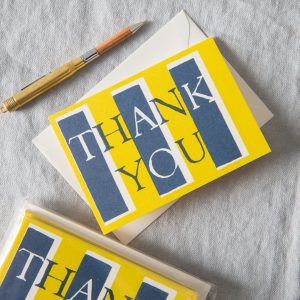 Thank You notecards set of 10 acid yellow and navy