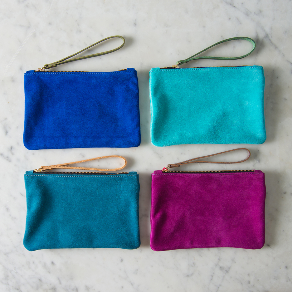 Suede clutch bag cobalt blue, aqua, teal, pink