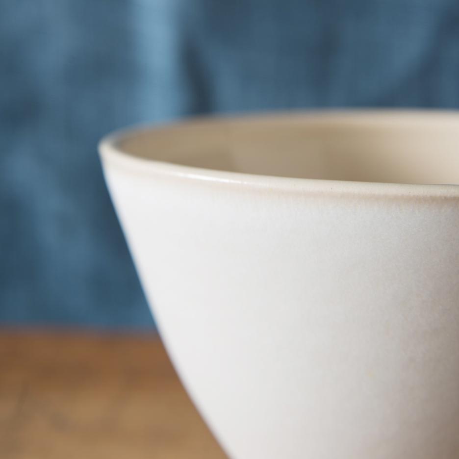 French ceramic serving bowl handmade white