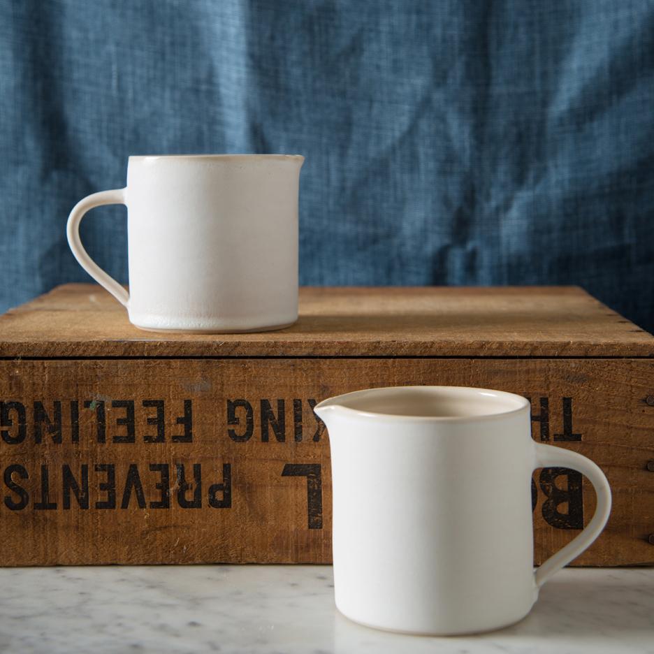 French ceramic pint jugs handmade white