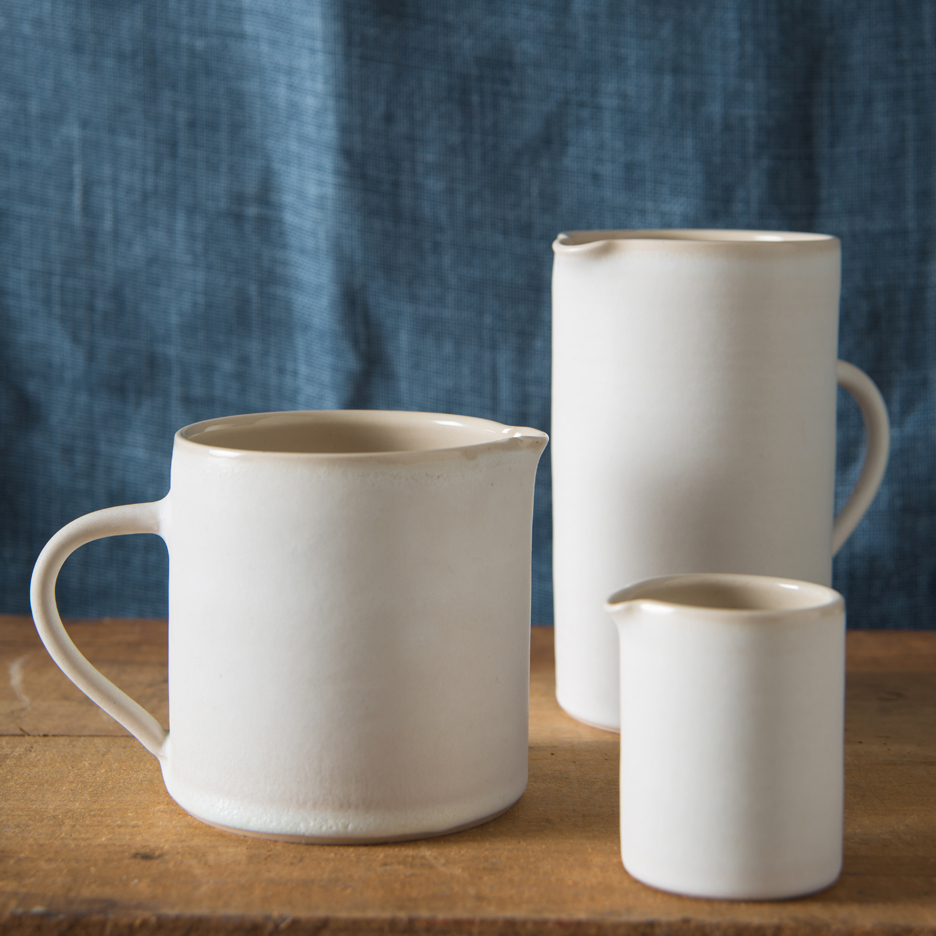 French ceramic jugs handmade white