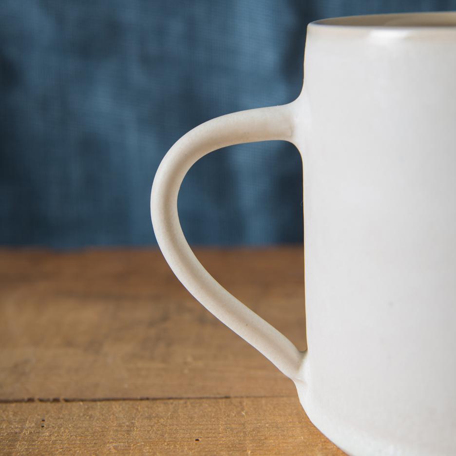 French ceramic pint jug handmade white