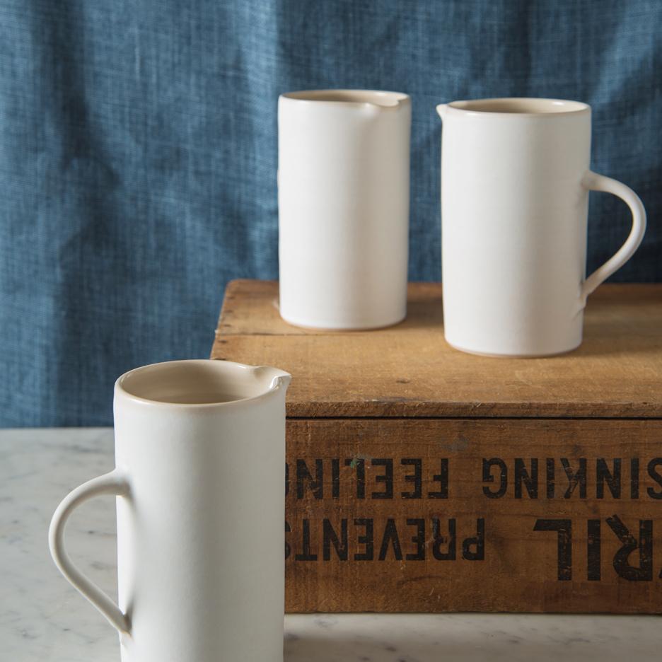 French ceramic tall jug handmade white
