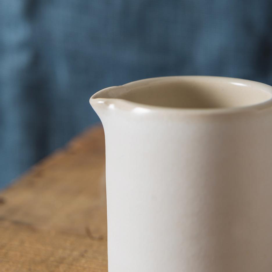 French ceramic espresso jug handmade white