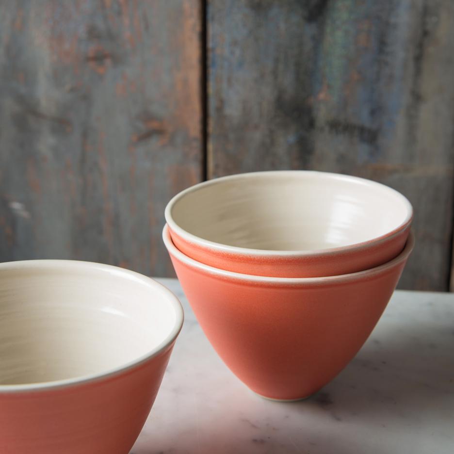 French ceramic serving bowl handmade tangerine