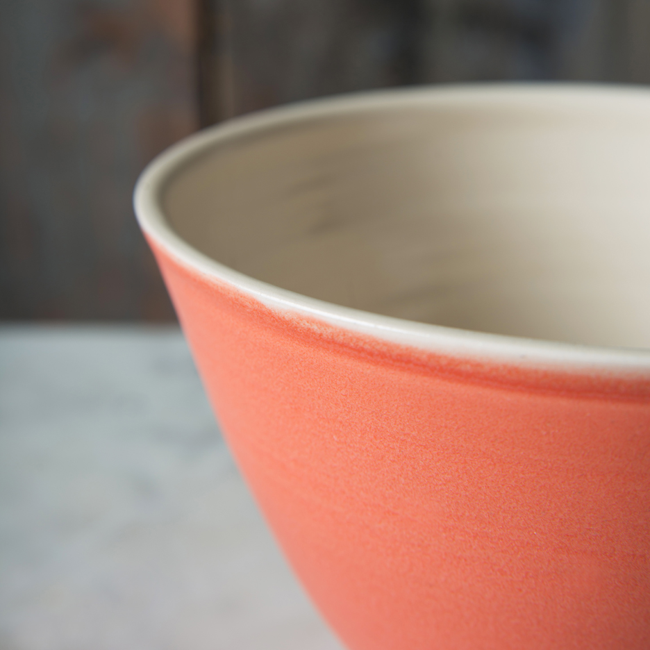 French ceramic serving bowl handmade tangerine