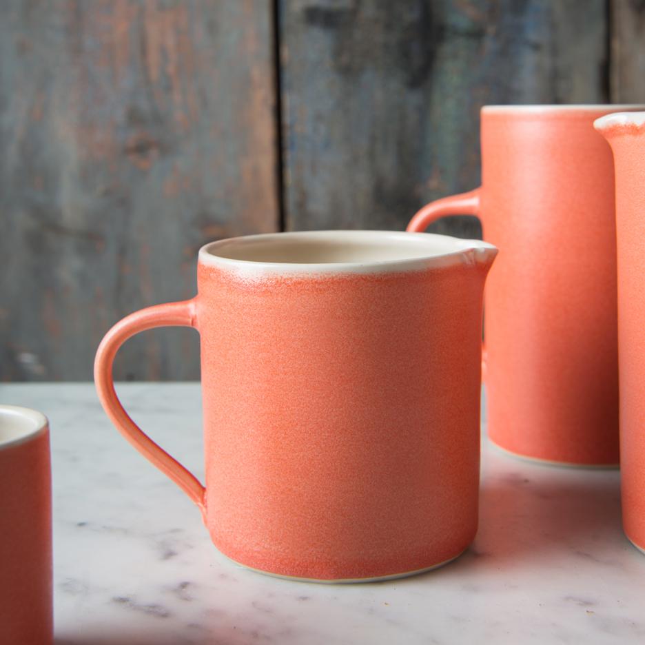 French ceramic pint jug handmade tangerine