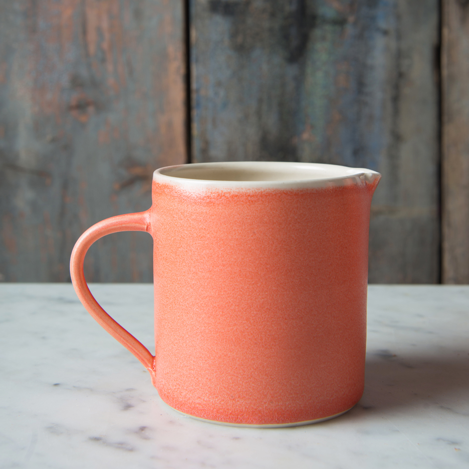 French ceramic pint jug handmade tangerine