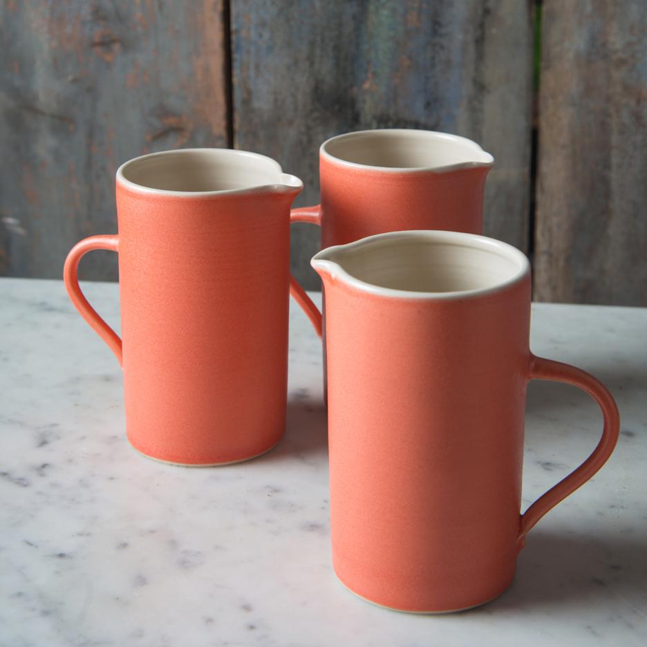 French ceramic tall jug handmade tangerine