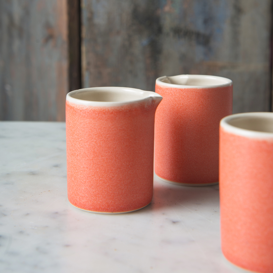 French ceramic espresso jug handmade tangerine